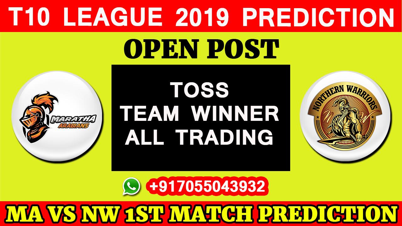 1ST Match T10 2019, Maratha Arabians vs Northern Warriors, Match Prediction& TIPS, MA VS NW