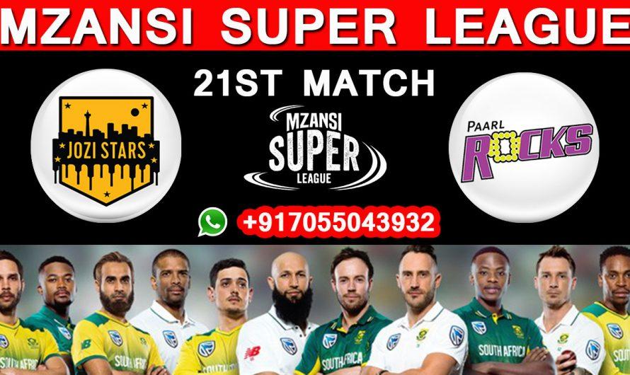 21ST Match MSL 2019, Jozi Stars vs Paarl Rocks, Match Prediction& TIPS, JS VS PR