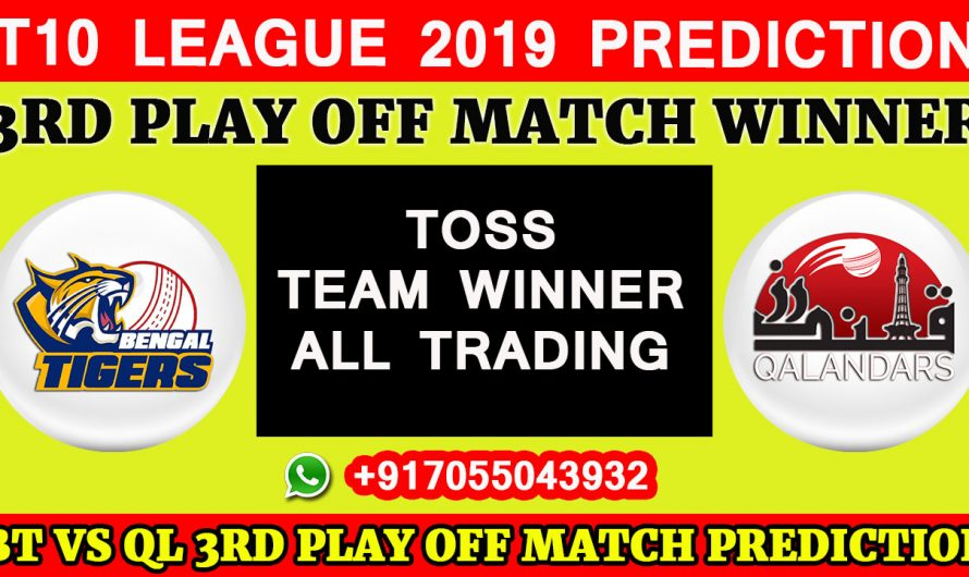 3RD PLAY OFF MATCH T10 2019, Bangla Tigers vs Qalandars, Match Prediction & TIPS, BT VS QL