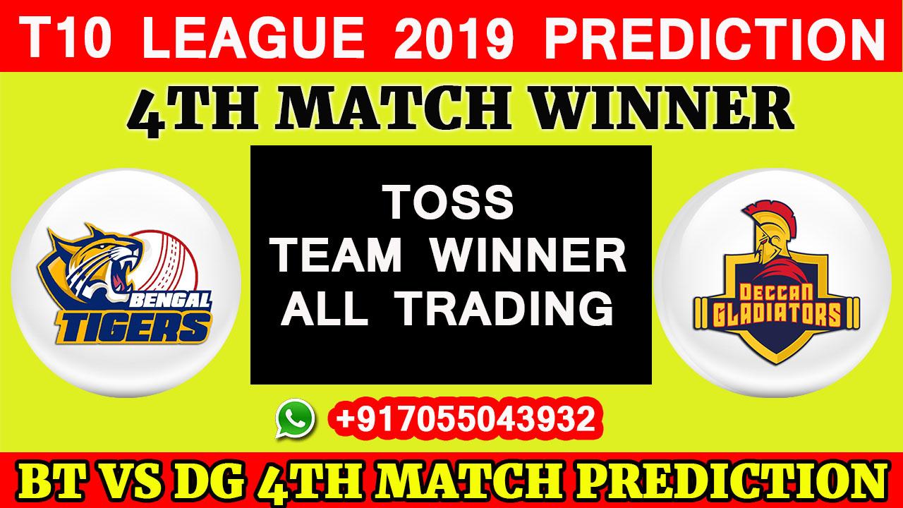 4TH Match T10 2019, Bangla Tigers vs Deccan Gladiators, Match Prediction& TIPS, BT VS DG