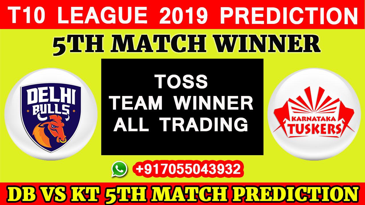 5TH Match T10 2019, Delhi Bulls vs Karnataka Tuskers, Match Prediction& TIPS, DB VS KT