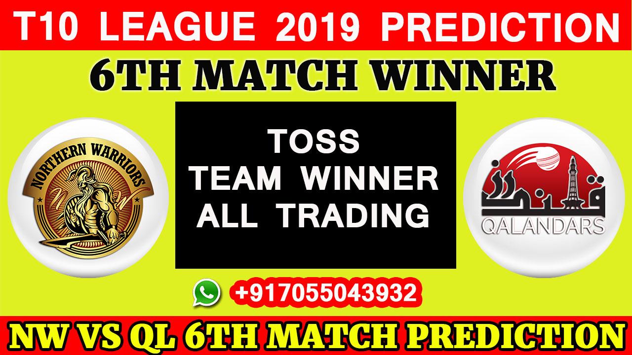 6TH Match T10 2019, Northern Warriors vs Qalandars, Match Prediction& TIPS, NW VS QL