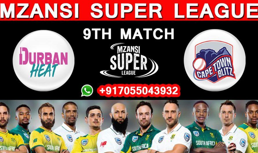 9TH Match MSL 2019, Durban Heat vs Cape Town Blitz, Match Prediction& TIPS, DH VS CTB