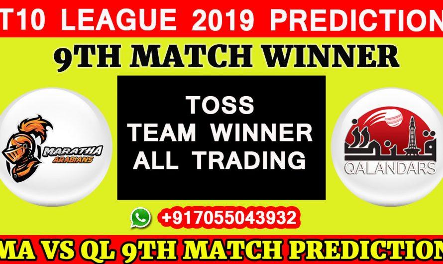 9TH Match T10 2019, Maratha Arabians vs Qalandars, Match Prediction& TIPS, MA VS QL