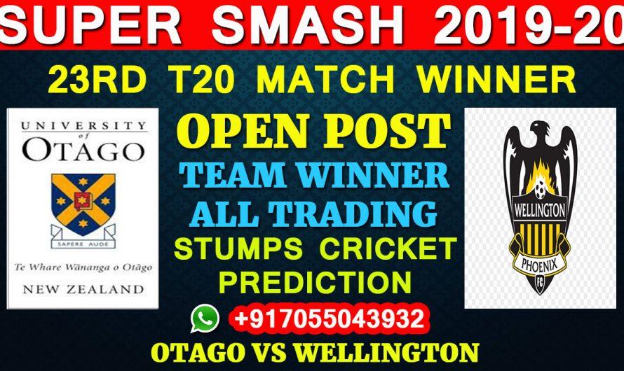 23RD T20 Match, Super Smash 2019-20: Otago vs Wellington, Full Prediction & Tips
