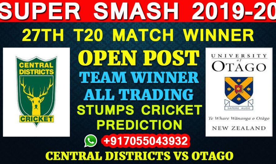 27TH T20 Match, Super Smash 2019-20: Central Districts vs Otago, Full Prediction & Tips