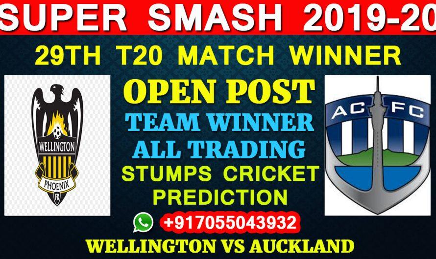29TH T20 Match, Super Smash 2019-20: Wellington vs Auckland, Full Prediction & Tips