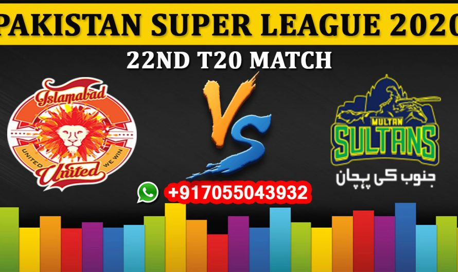 22nd T20 Match, PSL 2020: Islamabad United vs Multan Sultans, Full Prediction & Tips