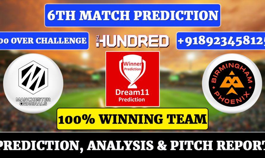 6th Match The Hundred Men's 2021, Manchester Originals vs Birmingham Phoenix , MCR vs BRM Dream11 Prediction