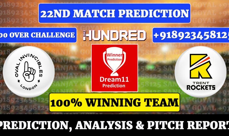 22nd Match The Hundred Men's 2021, Oval Invincibles vs Trent Rockets, OVL vs TRE Dream11 Prediction, Sanjay Goyal