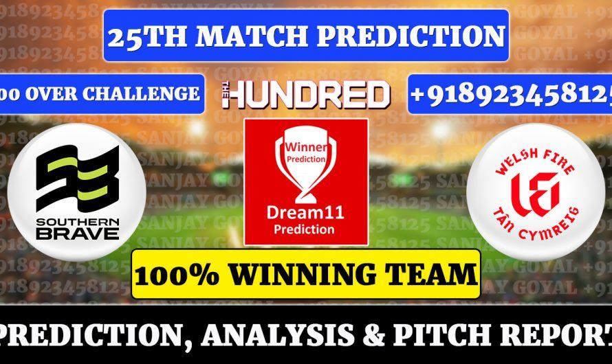 25th Match The Hundred Men's 2021, Southern Brave vs Welsh Fire, SOU vs WEF Dream11 Prediction, Sanjay Goyal